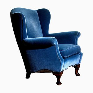 Hollywood Regency Blue Velvet Wingback Lounge Chair, 1920s