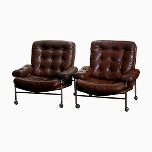 Chrome and Brown Leather Lounge Chairs from Scapa Rydaholm, 1970s, Set of 2