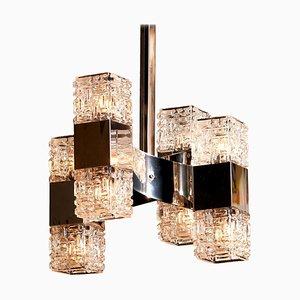 Chrom und Glas Hängelampe von Gaetano Sciolari, 1960er
