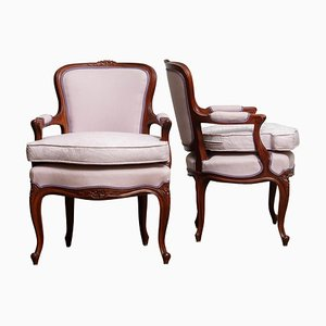 Swedish Rococo Pink Armchairs, 1950s, Set of 2