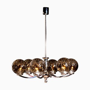 Chromed Chandelier with Six Crystal Mazzega Globes from Kaiser Leuchten, 1960s