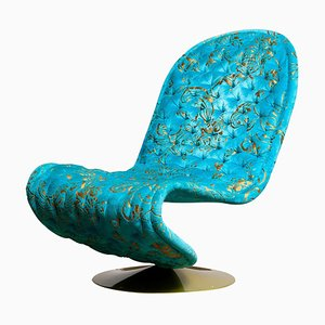 System 123 Lounge Chair in Turquoise Burnout Velvet by Verner Panton, 1970s