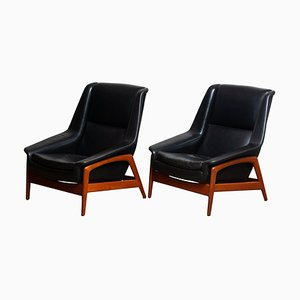 Model Profil Lounge Chairs in Leather and Teak by Folke Ohlsson for Dux, 1960s, Set of 2