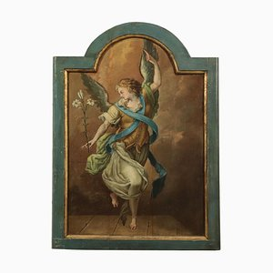 Angel Announcing, Italian School 18th-Century Painting, Oil On Board