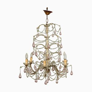 Chandelier in Blown Glass & Metal, 20th-Century