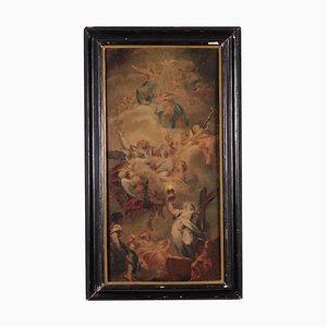 Allegorie des Glaubens mit der Heiligen Dreifaltigkeit, Himmelfahrt und Sankt Nikolaus in Herrlichkeit, Öl auf Leinwand