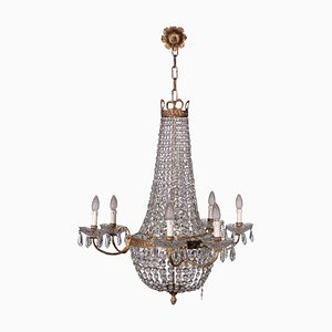 Empire Revival Chandelier in Glass, 20th-Century