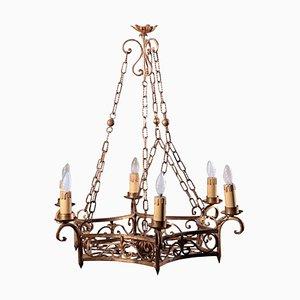 Kronleuchter aus vergoldetem Eisen, 20. Jahrhundert