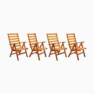 Solid Pine Slat Folding Outdoor Chairs, 1980s, Set of 4