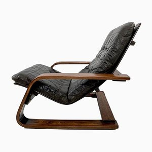 Mid-Century Leather Cantilever Bentwood Lounge Chair