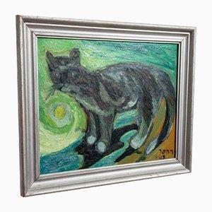 Mid-20th-Century Cat Oil Painting