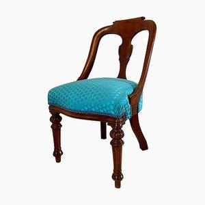 Antiker viktorianischer geschnitzter Krankenpflege- oder Frisiertisch-Stuhl aus Mahagoni