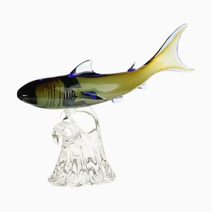 Shark on Murano Glass Base by Roberto Cammozzo for Wyland Hunting