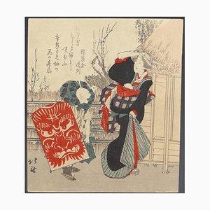 Katsushika Hokusai - Kite - Woodblock - Mid 19th-Century