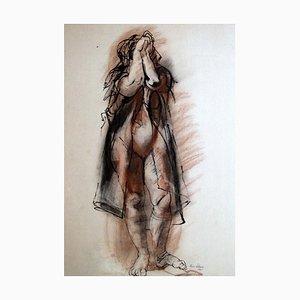 Rico Lebrun - Weibliche Figur - Tinte und Wachsmalstift - 1941