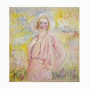 Peinture à l'Huile Antonio Feltrinelli - Woman In Pink - 1930s