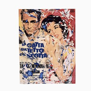 Mimmo Rotella, Cat on a Hot Tin Roof, Silkscreen and Collage
