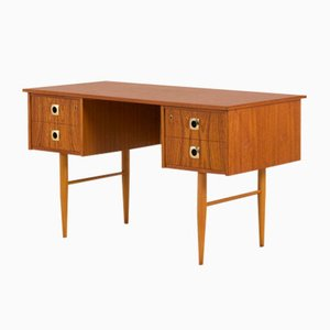 Small Italian Teak Desk with Brass Handles & Beech Legs, 1960s