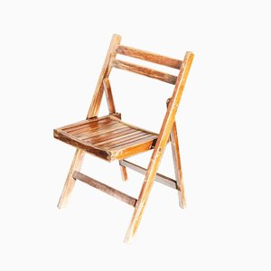 Walnut Stained Beech Folding Chair, 1960s