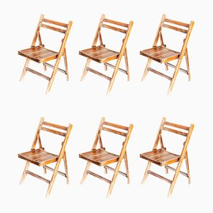 Walnut Stained Beech Folding Chairs, 1960s, Set of 12