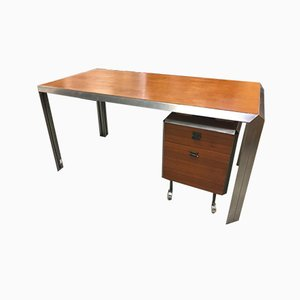 Ash & Chromed Steel Desk by Bernard Marange for TFM, 1970s