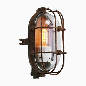 Mid-Century Cast Iron & Glass Sconce from Industria Rotterdam