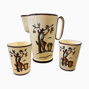 Handbemalte sizilianische Keramikkrug & Gläser von Gio Ponti, 1947, 3er Set