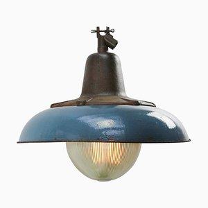 Lámpara de techo industrial Mid-Century de vidrio y esmalte azul