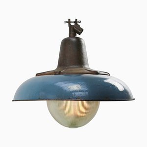 Mid-Century Industrial Blue Enamel & Glass Ceiling Lamp