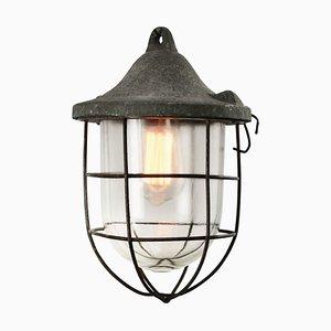 Industrielle Mid-Century Deckenlampe aus Grauem & Glas