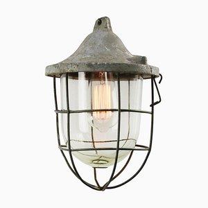 Lámpara de techo industrial Mid-Century de vidrio y vidrio gris