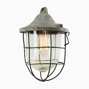 Mid-Century Industrial Gray & Glass Ceiling Lamp
