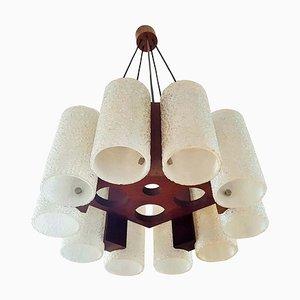 Lámpara de araña danesa de teca y resina, años 60