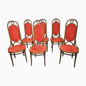 Bugholz Esszimmerstühle mit erhöhter Rückenlehne von Thonet, 1970er, 6er Set