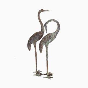 Hollywood Regency Style Large Bronze Cranes, 1970s, Set of 2