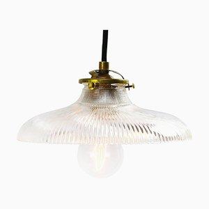 Industrielle Mid-Century Deckenlampe aus Glas