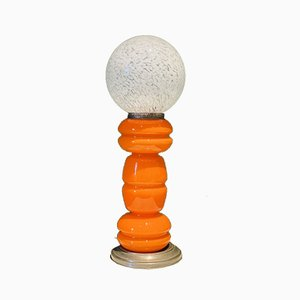 Orangefarbene orangene italienische Murano Glas Tischlampe von Carlo Nason für Mazzega, 1965