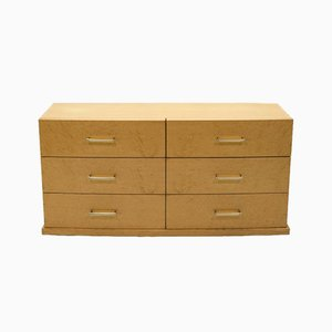 Large Art Deco Sycamore Chest of Drawers with Brass Handles, 1940s