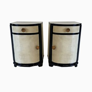 Italian Art Deco Parchment Nightstands, 1930s