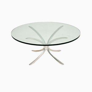 Table Basse Vintage en Acier et Verre, 1970s