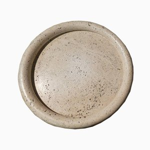 Italian Travertine Dish by Pier Alessandro Giusti, Egidio Di Rosa for Up & Up, 1970s