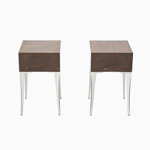 Steel & Ebony Nightstands or End Tables, 1970s, Set of 2