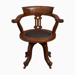 Viktorianischer Schreibtischstuhl aus Mahagoni