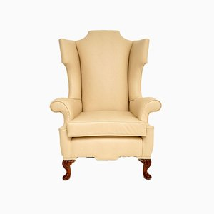 Antique William & Mary Style Faux Leather Wingback Armchair