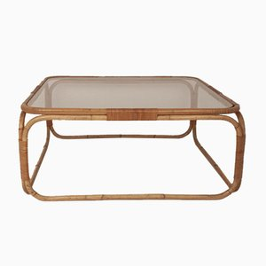 Vintage Bamboo & Glass Coffee Tables by Miguel Milá, 1970s
