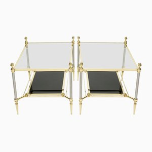 Neoclassical Brass & Black Glass End Tables from Maison Jansen, 1970s, Set of 2