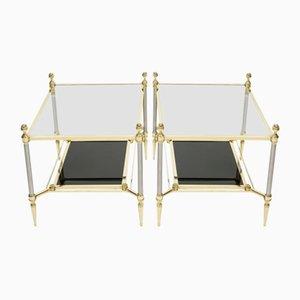 Neoklassizistische Beistelltische aus Messing & schwarzem Glas von Maison Jansen, 1970er, 2er Set