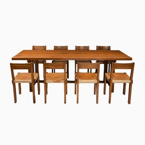 Elm T01D & S24 Dining Table & Chairs Set by Pierre Chapo, 1960s, Set of 9