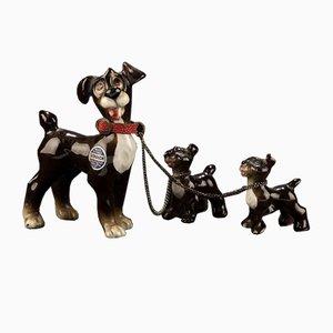 Vagabundo con dos cachorros de Goebel para Walt Disney, años 50
