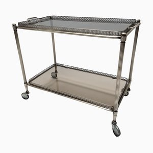 French Smoked Glass & Silver-Plated 2-Tier Trolley, 1950s